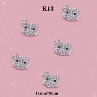 Silver Nail Art Cat Face Diamond Rhinestone DIY Nail Art Glitter Decorations Size:11mm*9mm#K13