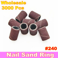 Wholesale 3000pcs #240 Sanding Bands For Manicure Pedicure Nail Drill Machine + Free Shipping