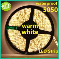 [Hosim] Hot Sale! 5050 Flexible Led Strip Warm White Waterproof 60Leds/M 5M 300Led/roll LED STRIP lighting & Free Shipping
