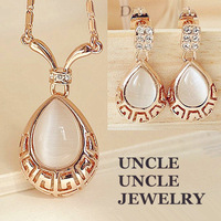 FREE SHIPPING 18K Real Gold Plated High Quality Opal Inlaid Rome Design Retro Water Drop Lady Jewelry Set Earrings/Necklace