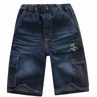 Wholesale 6 pcs summer blue black Children child boys Kids baby cotton short jeans pants trousers with cute porkets PEXS21P01