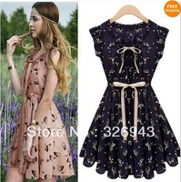Free shipping 2014 summer new Women Elegant Ribbon Details Animal Prints Chiffon Dress