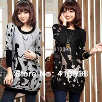 2014 hotselling plus size female clothing loose design long-sleeve women T-shirt knitted basic shirt freeshipping