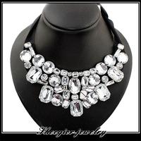 Fashion winter clothing fake collar necklace women textile chain elegant handmade acrylic rhinestone choker necklaces pendants