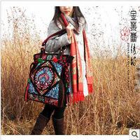 2013 Embroidery flower women's shoulder bagcloth bags vintage bag national trend unique women's handbag