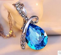 MOQ is $10 (mixed ) The angel tear drop Crystal fashion charms  women necklace wholesale free shipping jewellery