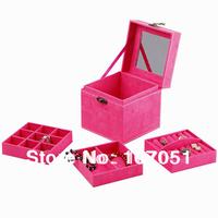 2014 hot selling Jewelry box  flannelette square princess South Korea Europe type wedding gift birthday jewellery display