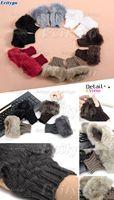 20xFashion Women Faux Rabbit Fur Hand Wrist Winter Warmer Knitted Fingerless Gloves Free Shipping