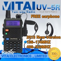 Free Shipping Discount!2013 Newest Walkie Talkie BAOFENG UV-5R Dual Band Transceiver VHF UHF 136-174MHZ&400-520MHZ+Free Earpiece