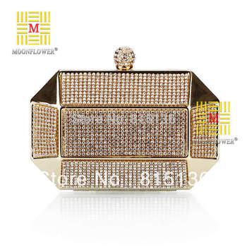 Wholesale & Retail Nice 2015 new arrive evening bag luxury diamond clutch handbags Iron box evening bags black/silver&gold