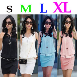 Top 2013 New Lady Girl Summer Women Mini Dress Crew Neck Chiffon Sleeveless Causal Tunic Sundress Black White Blue Pink S M L XL(China (Mainland))