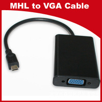 Free Shipping MHL to VGA Adatper with USB Charger and 3.5mm Audio for Samsung Galaxy S2 i9100 i9220 i9250 HTC