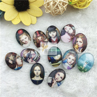 25*18mm oval cabochon already glued on the image transparent glass cabochon blank pendant cover xl87