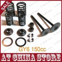Free Shipping+GY6 150cc 157QMJ Cylinder Head Valve kit INTAKE & EXHAUST Valves Set with Valve Spring Kit