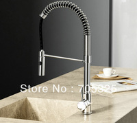 Fashion New Pull Up Kitchen Stream Spray Basin Sink Chrome Brass Single Handle Mixer Tap Faucet JN-0149