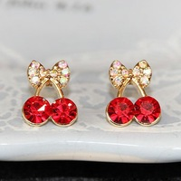 E281 cherry stud earrings  red cherry earrings crystal vintage earrings free shipping free gift (MIN order $10 mixed order)