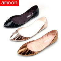 Amoon / Women New Spring Summer Autumn Fashion Solid Rubber PU Flat / 0630#21/ 3 Colors/ 7 Plus Size/ Free Shipping