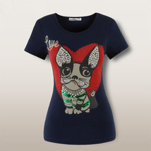 Beading Set auger Cartoon Love dog high quality cotton short sleeve ladies' t shirt Size S-3XL DWJ1317 Free shipping(China (Mainland))