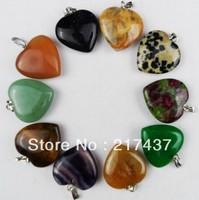 C0019 Free Shopping Mix Stone Beautiful Romantic Heart  Agate&Jasper pendant bead 10pcs/lot