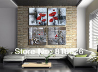 4 Panels Classical Abstract Flowers Canvas Painting Modern Living Room Decoration Wall Hanging Art, Free Shipping Picture pt37