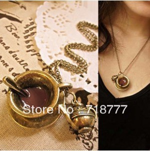 Min Order $15 Free Shipping Christmas Gift Coffee Cup Teapot Spoon Pendant Necklace MN043 Magi Jewelry(China (Mainland))