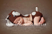 Free shipping new design cute brown dog handmade crochet photography props baby hat and shorts