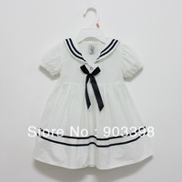 CHINA POST FREE SHIPPING,Navy ,Dress, Blue Bow, wholesale clothing,10pcs/lot