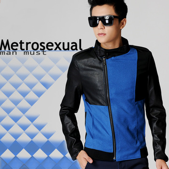 mens coats  men 2013 outerwear male slim stand collar leather jacket pu leather stitching fashion short jacket man JK588