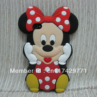 For Iphone 4 4G 4S 3D Lovely Cute Minnie Mickey Mouse Soft Rubber Silicone Back Case Cover Skin New
