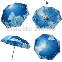 2014 High Quality Anti-UV  Blue Sky and White Cloud Sun/Rain 3 Fold Waterproof Umbrella Free Shipping