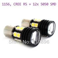 Super Bright 10W 1156 CREE R5 12smd led backup light 12volts LED light Car lamp White BA15S auto bulb 1pair