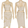 Free  Shipping 2013 New Style Elastic Knitted Bandage Dress J137 Studded Nude Two Piece Evening Dress