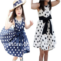 Free Shipping Retail Hot sale Latest Design Girls Summer Dot Dress Bow Belt Dress 2 color 3 ~ 9Age