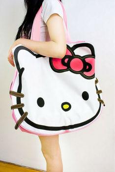New style Hello Kitty Handbag Lovely  Kitty Bag Female's Messenger Bag Canvas Handbag Large Travel Bag In Cartoon Pattern