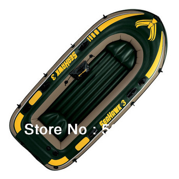 High Quality INTEX Inflatable Kayak Canoe Seahawk 3 Fish Boat Rowing Boats For 3 Person