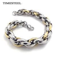 TSB074503-05 Fashion Men Jewelry Titanium Bracelet 316L Stainless Steel Bracelet For Men 8.5 inch Gold / Black / Silver