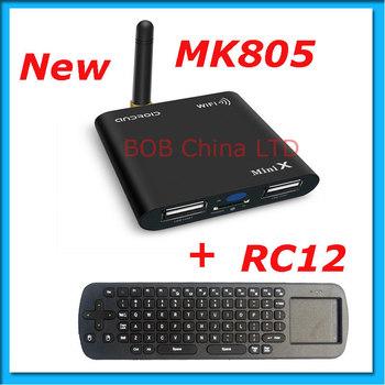 Freeshipping ! HOT NEW Mini MK805  Android 4.0 RAM 1GB ROM 4GB Mini PC HDMI Wifi RJ45+Fly air mouse RC12