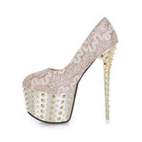 Sexy lace rivet single shoes 2013 16cm high-heeled shoes platform princess women's shoes punk rivet high heel