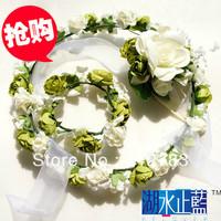 The bride hair accessory flower girl child garishness hand ring hand flower neck flower set white Min Order $15