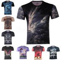 Free Shipping 2014 Men's aurora  3D animal Creative T-Shirt#114 ,Men fashion Punk 3d T Shirt S-6XL,Plus Size