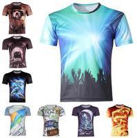 Free Shipping Cool Men's sun 3D animal Creative T-Shirt#114 ,Men Slim Short Sleeve T Shirt S-6XL,Plus Size