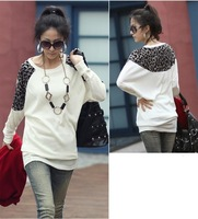 2013 Women's Fashion Batwing Shirt Dolman O-Neck T-shirt Leopard  Prints Top Blouses 3 colors Free Shipping