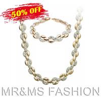 Free Shipping Wholesale Best Gift 18K Gold Plated Necklace Bracelets Bride Jewelry Fashion Gold Rhinestone Jewelry Sets 3048