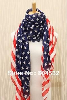 2013 Top Fashion MEN/WOMEN American Flag Scarf Chiffon STARS Scarf Wraps W807