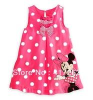 Hot sale, New style baby girl's Minnie sleeveless Dot dress baby sweet dress ,5 pcs/lot