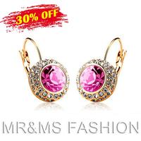 Free Shipping Hotselling Factory Wholsale Austria Crystal Pendant Earrings Moon River Fashion Women Best Gift Drop Earrings 1075