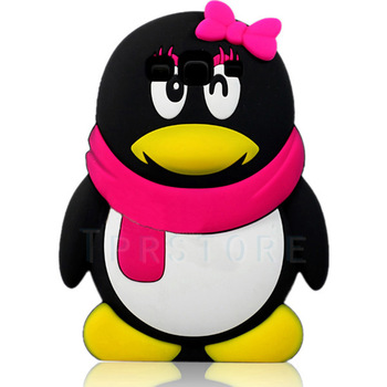 FREE SHIPPING 3D Penguin Cartoon Soft Silicone Case Cover Skin for Samsung I9300 Galaxy S3 SIII + Pen #S25-G