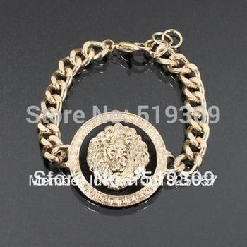 Fashion hot enamel lion head bracelets, gold color