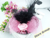 12pcs/lot 10cm Girl Pillbox Fedora Hat Hair Clip Flower Feather Shining Mini Top Black Lace Cocktail Party Hair Accessory