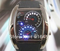 Free Shipping LED Newest Sytle Men Watch speedometer Gift Sports Car Meter Arrival Silicone Strap Watch
